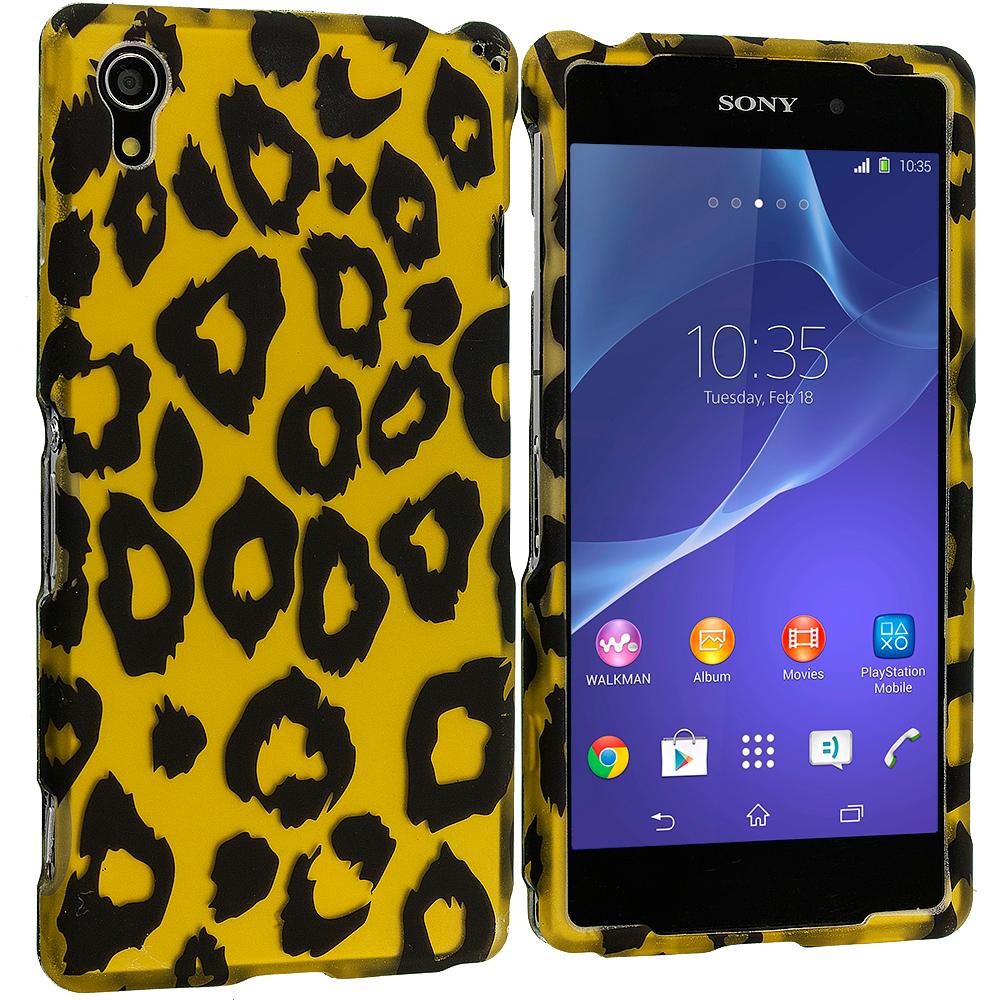 Sony Xperia Z2 Black Leopard on Golden 2D Hard Rubberized Design Case Cover