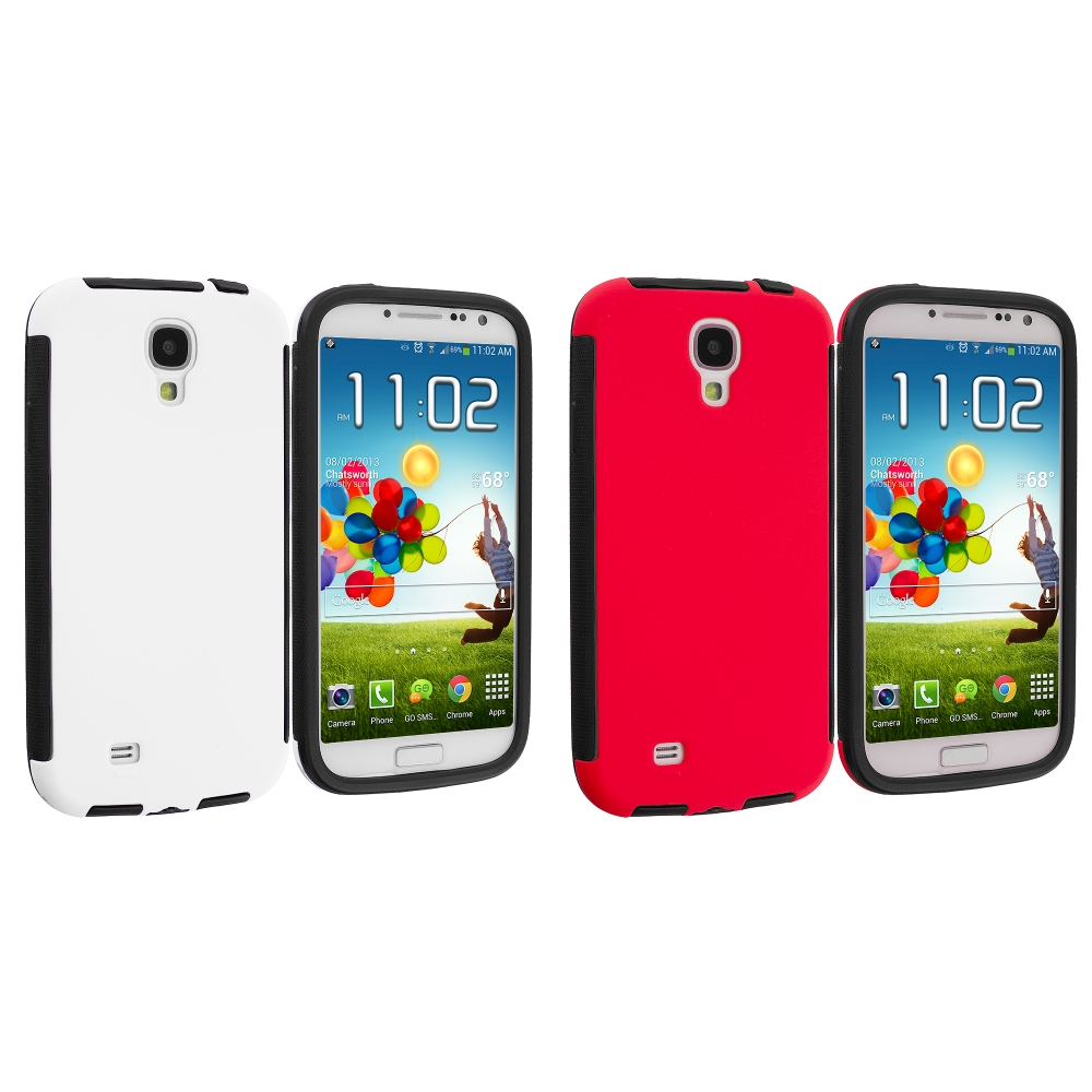 Samsung Galaxy S4 2 in 1 Combo Bundle Pack - White Red Hybrid Hard TPU Case With Built in Screen Protector