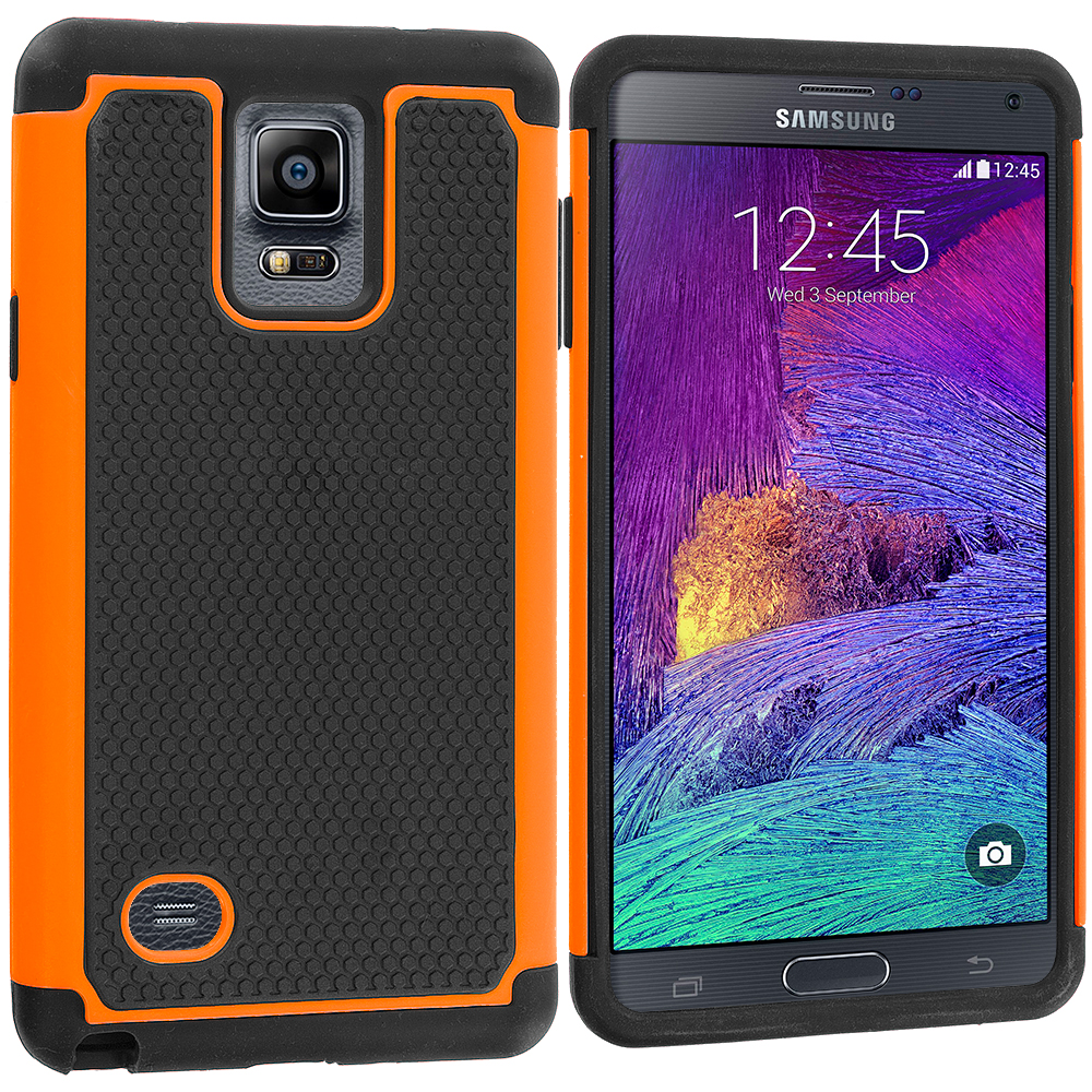Samsung Galaxy Note 4 2 in 1 Combo Bundle Pack - Green Orange Hybrid Rugged Grip Shockproof Case Cover : Color Black / Orange