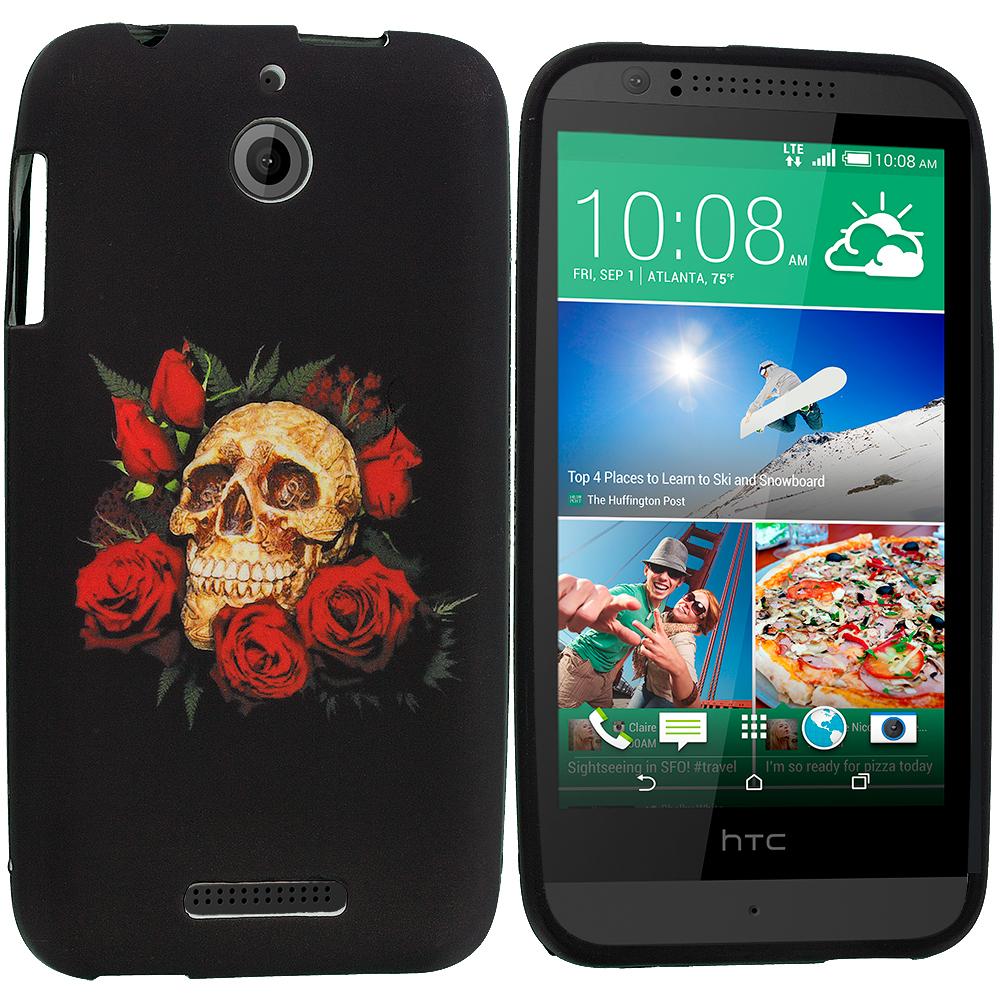 HTC Desire 510 Red Rose Skull TPU Design Soft Rubber Case Cover