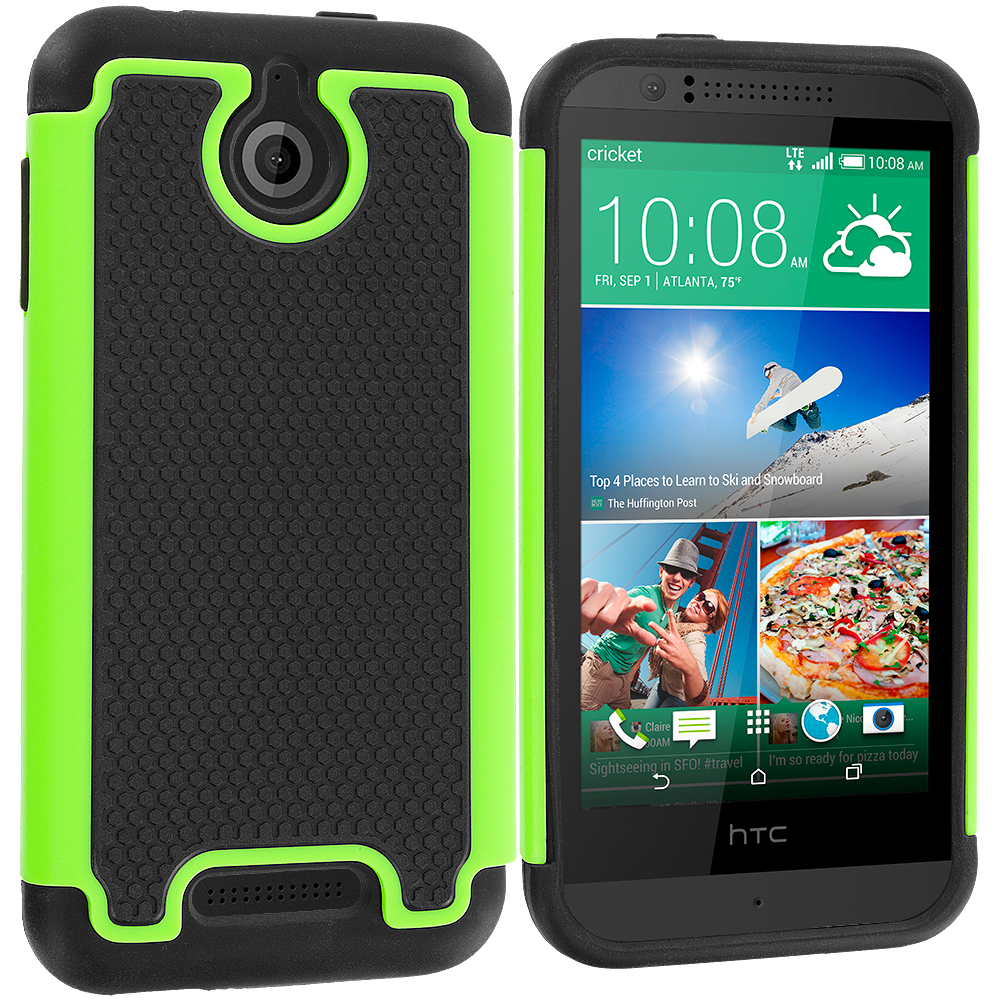 HTC Desire 510 Black / Neon Green Hybrid Rugged Grip Shockproof Case Cover