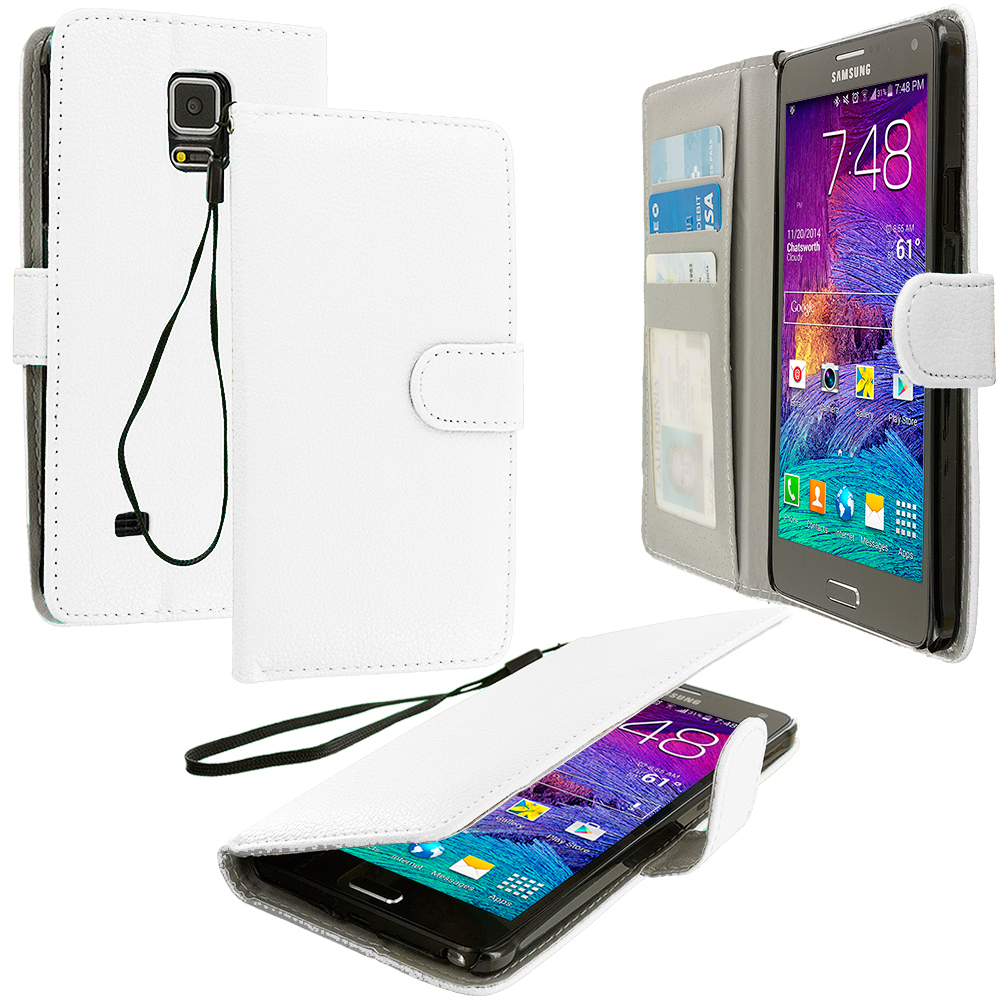 Samsung Galaxy Note 4 White Leather Wallet Pouch Case Cover with Slots