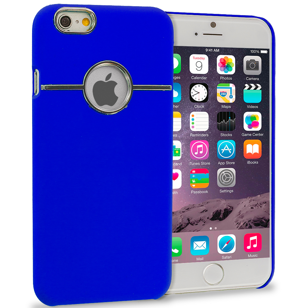 Apple iPhone 6 6S (4.7) Blue Deluxe Chrome Hard Rubberized Back Cover Case