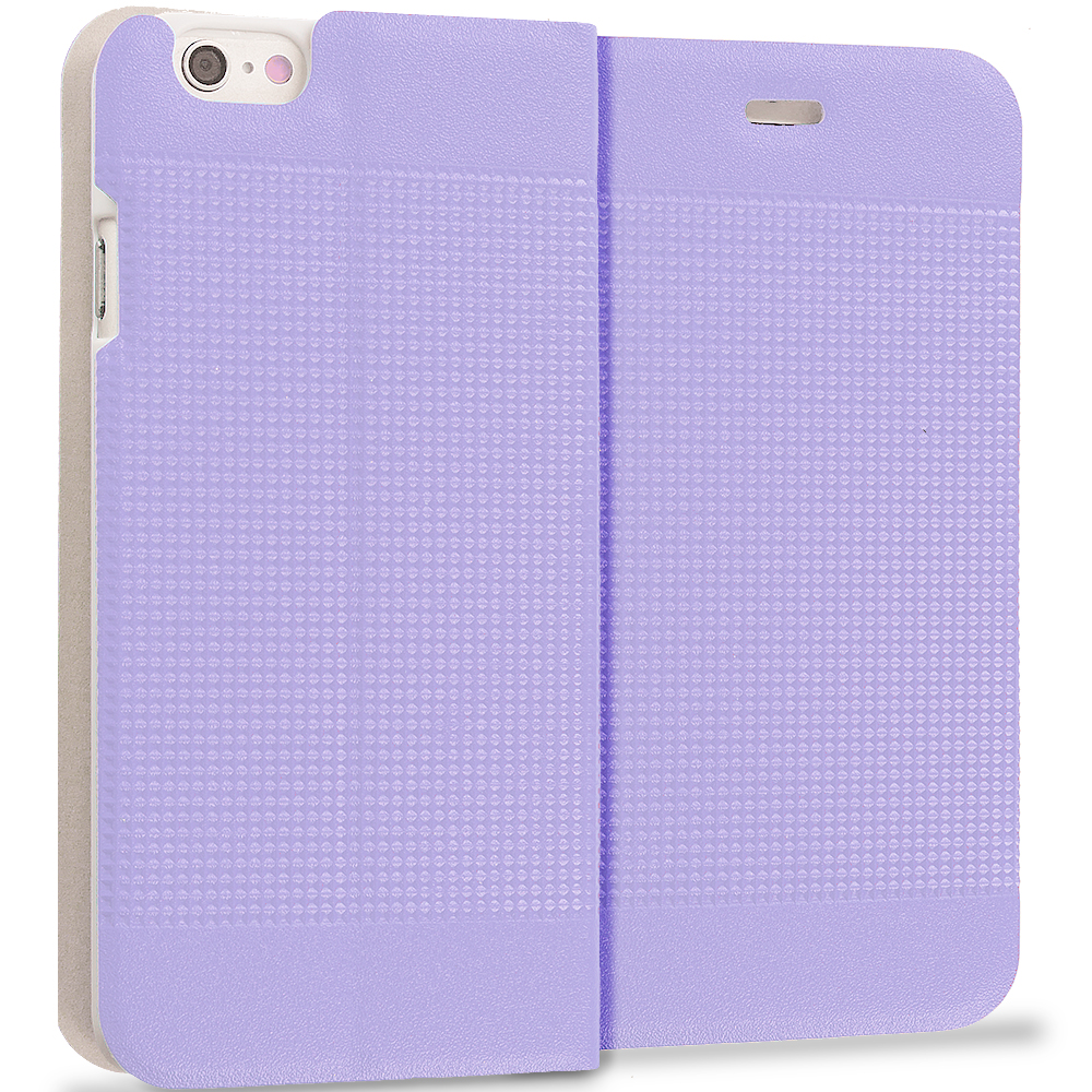 Apple iPhone 6 Plus 6S Plus (5.5) Purple Slim Wallet Flip Design Case Cover