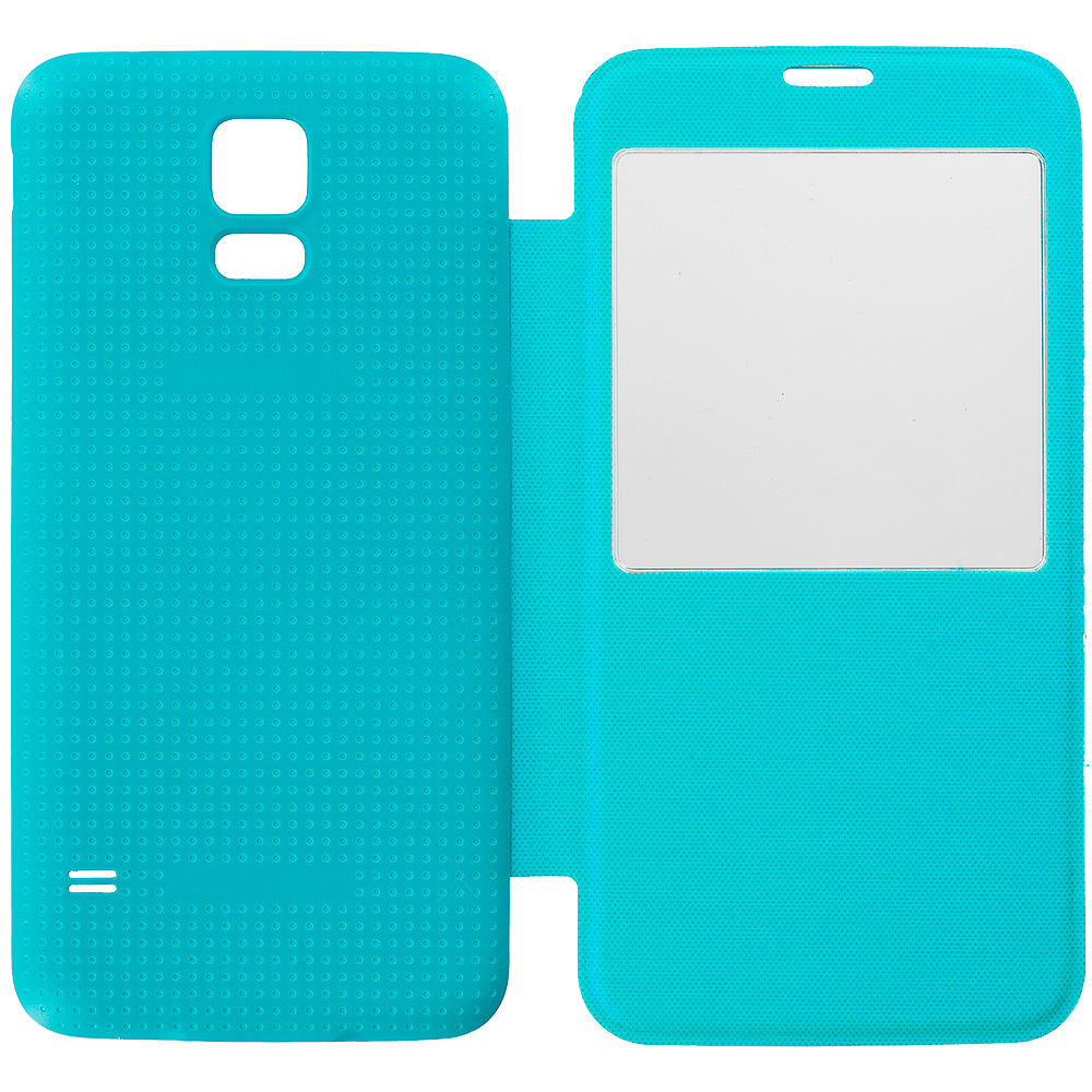 Samsung Galaxy S5 Teal Battery Door Rear Replacement Ultra Slim Wallet Flip Case Cover