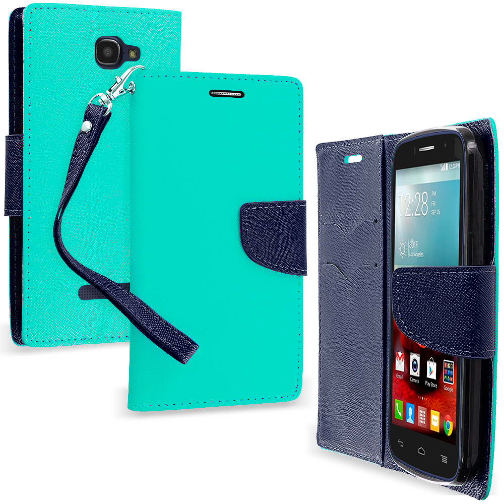 Alcatel One Touch Fierce 2 7040T Mint Green / Navy Blue Leather Flip Wallet Pouch TPU Case Cover with ID Card Slots