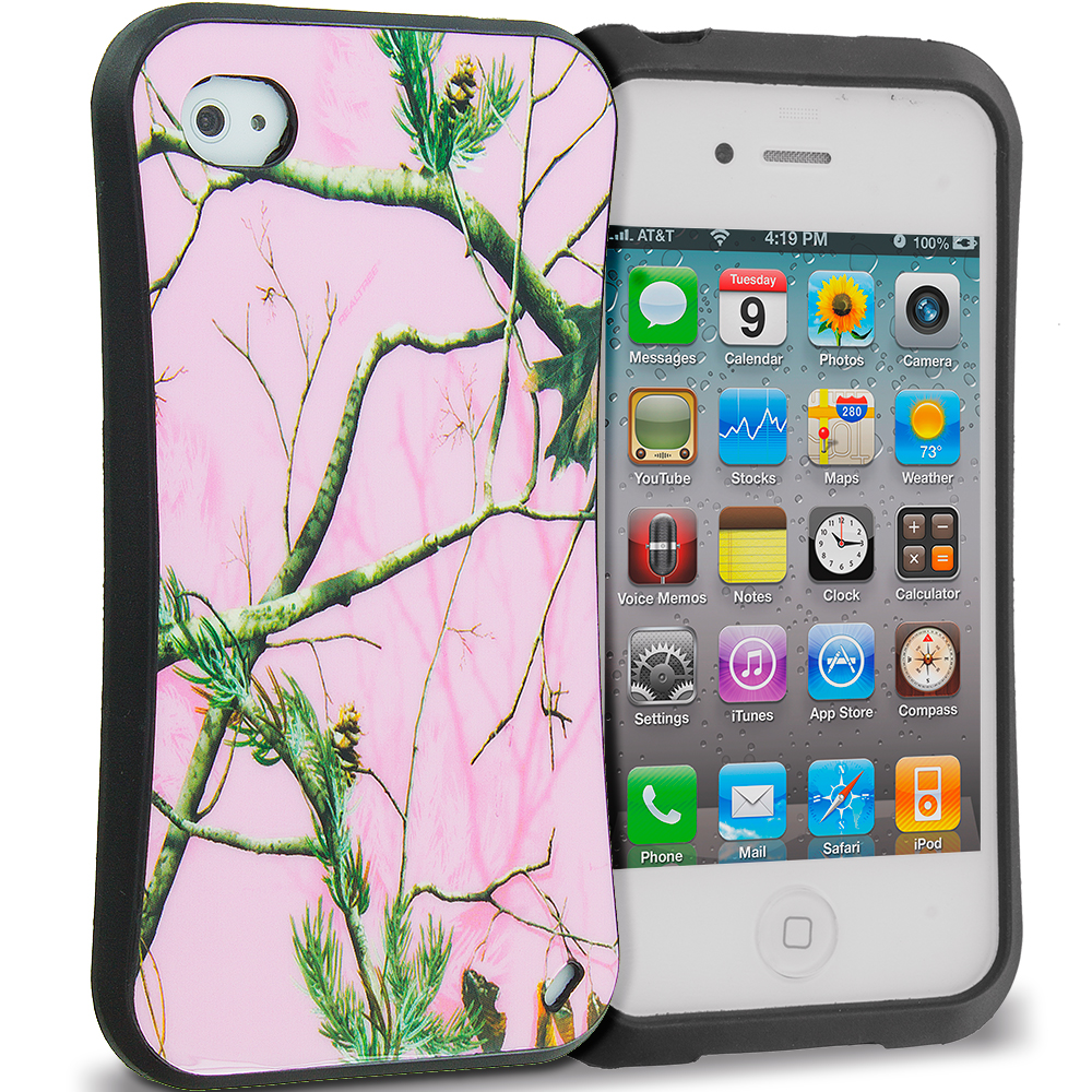 Apple iPhone 4 / 4S Hot Pink Tree Hybrid TPU Hard Soft Shockproof Drop Proof Case Cover