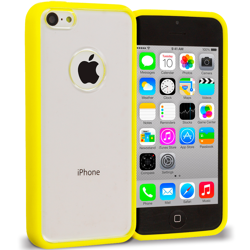 Apple iPhone 5C 2 in 1 Combo Bundle Pack - Yellow Green TPU Plastic Hybrid Case Cover : Color Yellow
