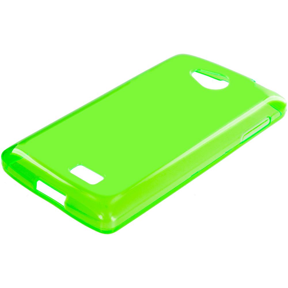 LG Transpyre Tribute F60 Neon Green TPU Rubber Skin Case Cover