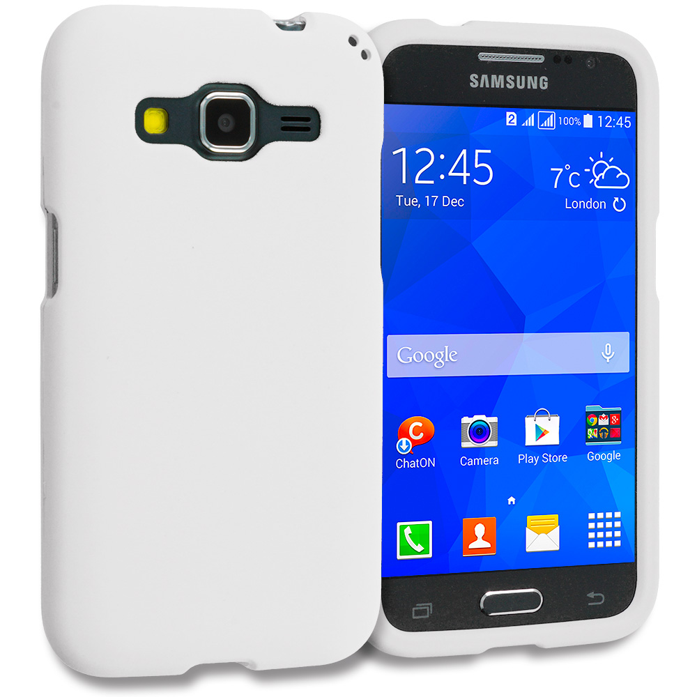 Samsung Galaxy Prevail LTE Core Prime G360P / Prevail LTE White Hard Rubberized Case Cover