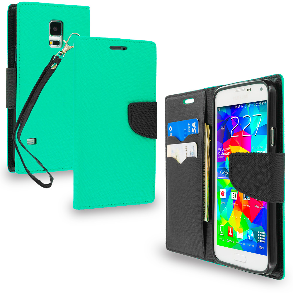 Samsung Galaxy S5 Mint Green / Black Leather Flip Wallet Pouch TPU Case Cover with ID Card Slots