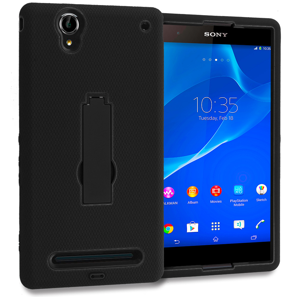 Sony Xperia T2 Ultra D5303 Black / Black Hybrid Heavy Duty Hard Soft Case Cover with Kickstand