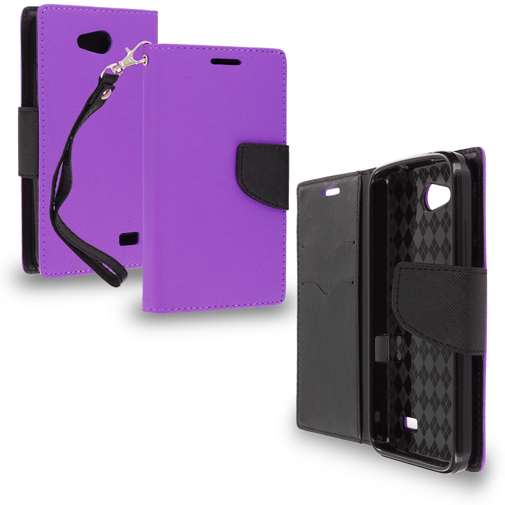 ZTE Speed N9130 Purple / Black Leather Flip Wallet Pouch TPU Case Cover with ID Card Slots