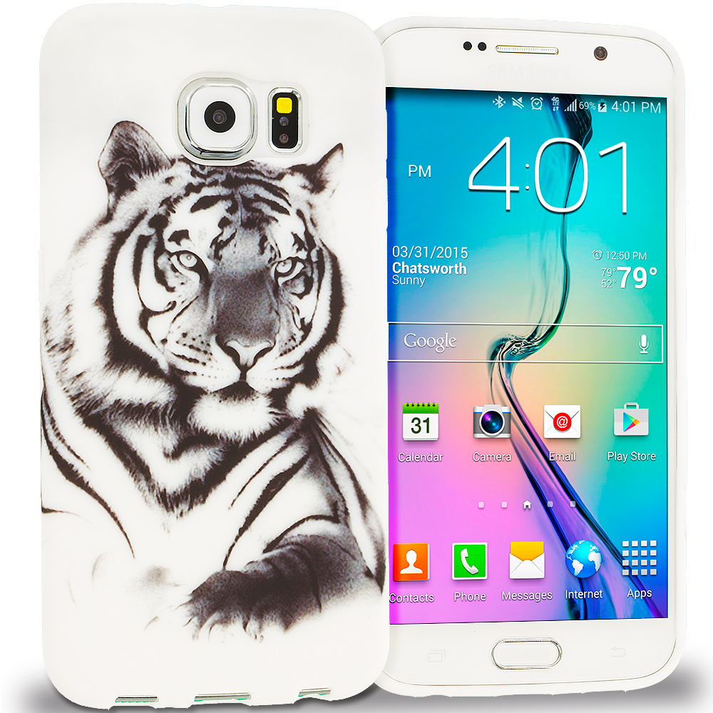 Samsung Galaxy S6 Combo Pack : Tiger TPU Design Soft Rubber Case Cover : Color Tiger