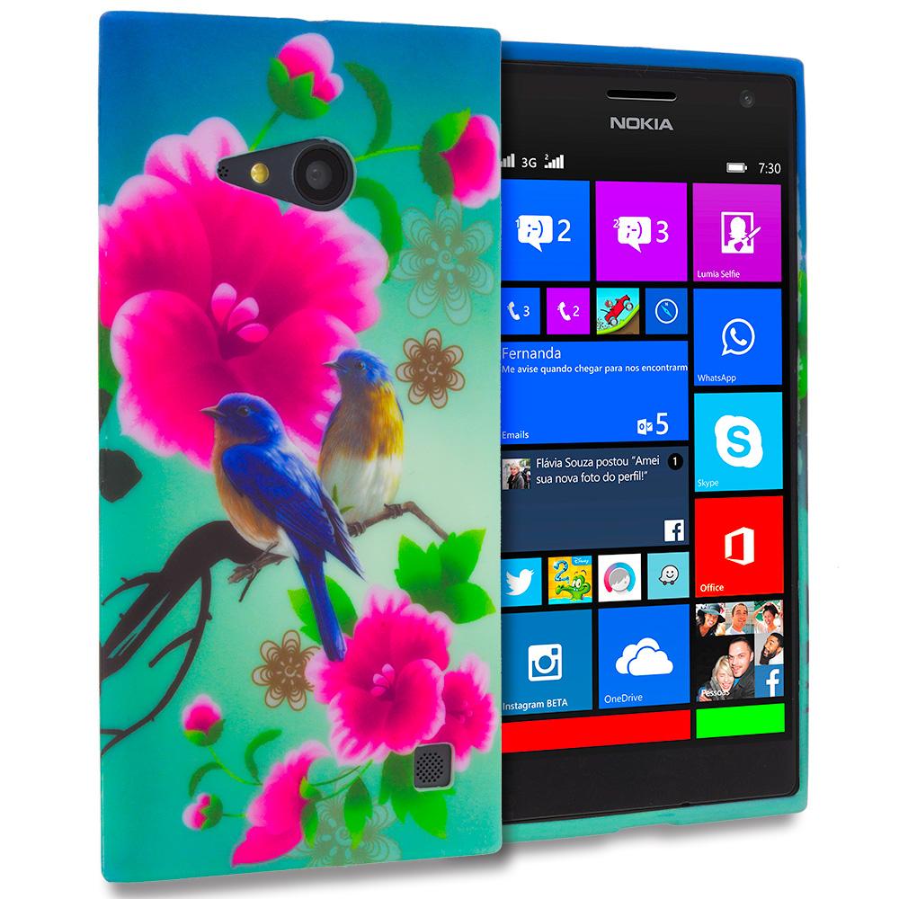 Nokia Lumia 730 735 Blue Bird Pink Flower TPU Design Soft Rubber Case Cover