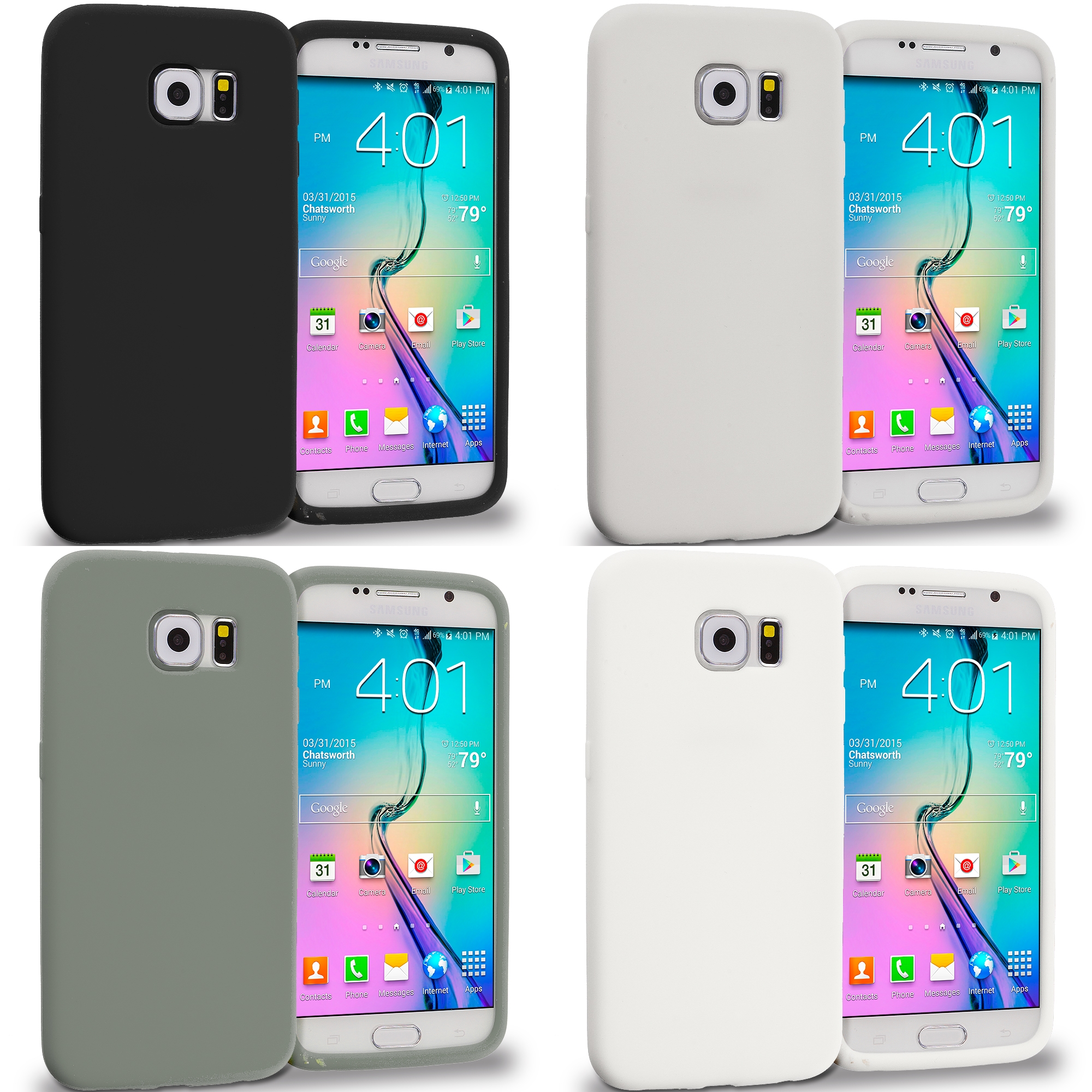 Samsung Galaxy S6 Combo Pack : Black Silicone Soft Skin Rubber Case Cover