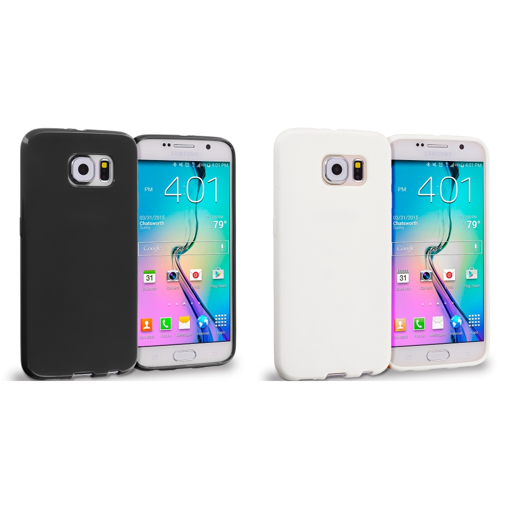 Samsung Galaxy S6 Combo Pack : Black Solid TPU Rubber Skin Case Cover