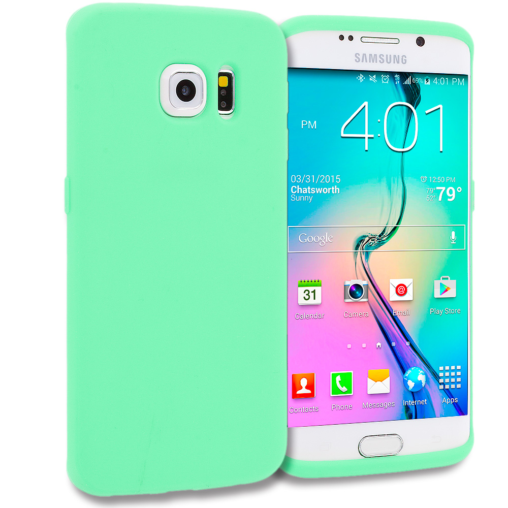 Samsung Galaxy S6 Edge Mint Green Silicone Soft Skin Rubber Case Cover