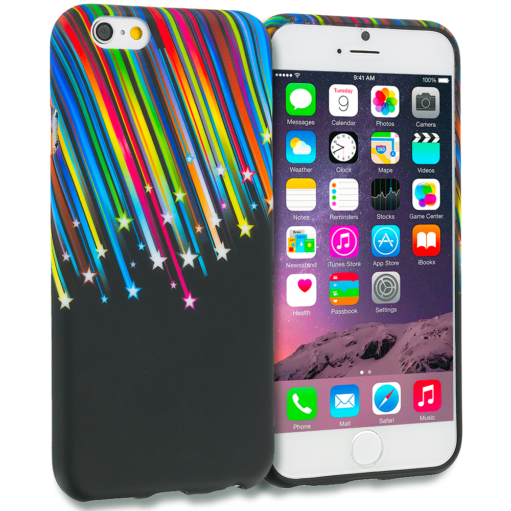 Apple iPhone 6 6S (4.7) Rainbow Star TPU Design Soft Rubber Case Cover