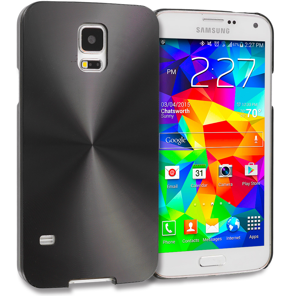 Samsung Galaxy S5 Black / Black Aluminum Metal Hard Case Cover