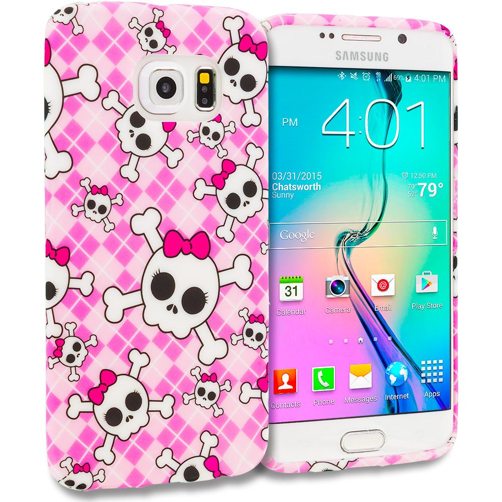 Samsung Galaxy S6 Edge Cute Skulls TPU Design Soft Rubber Case Cover