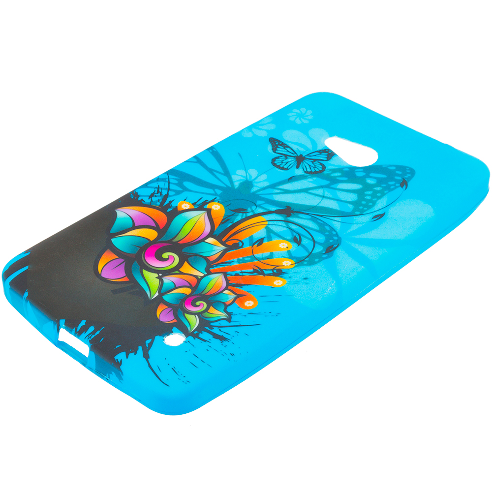 Microsoft Lumia 640 2 in 1 Combo Bundle Pack - TPU Design Soft Rubber Case Cover : Color Blue Butterfly Flower
