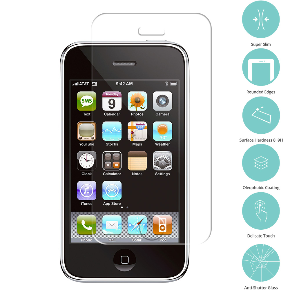 Apple iPhone 3G / 3GS Clear Tempered Glass Film Screen Protector Clear