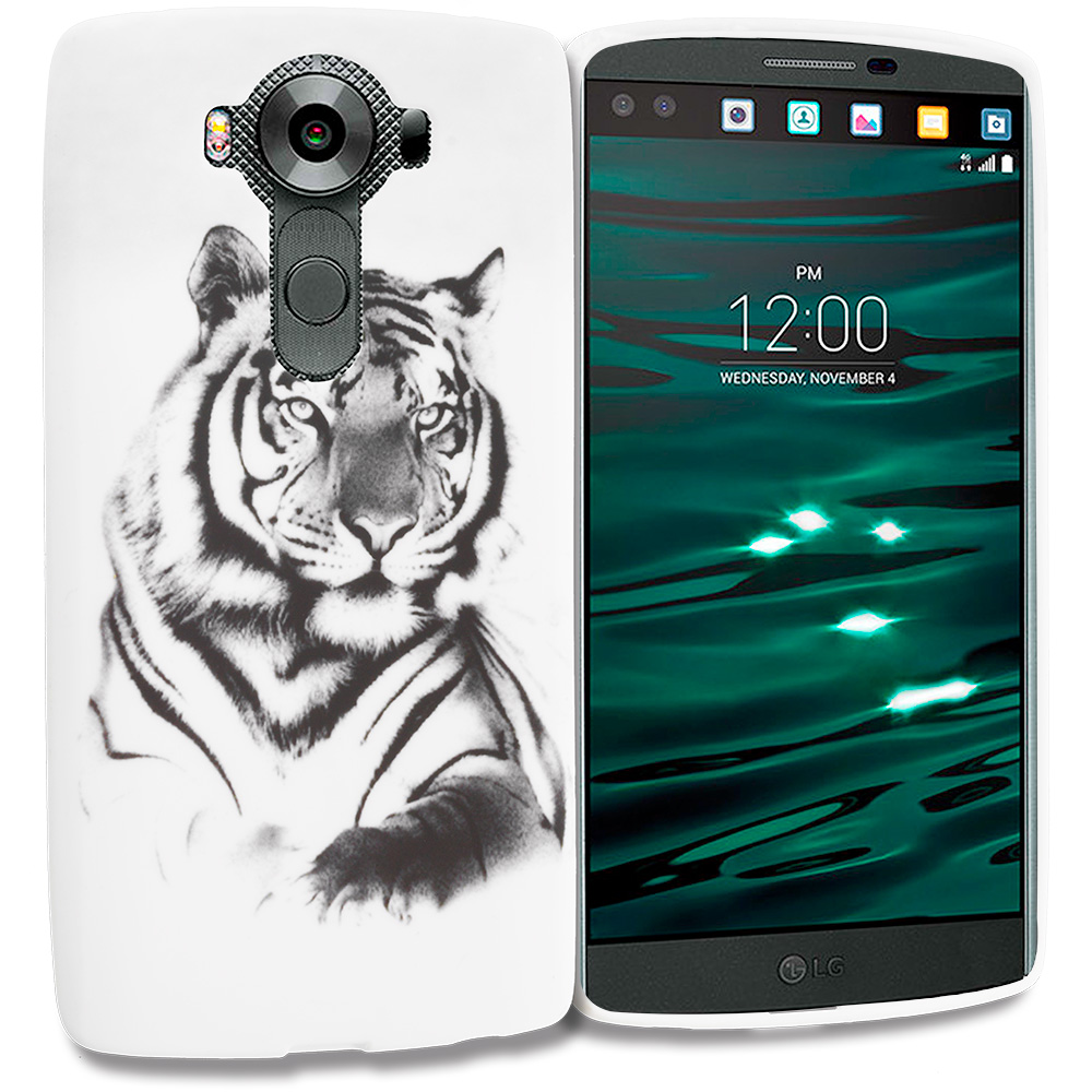 LG V10 White Tiger TPU Design Soft Rubber Case Cover