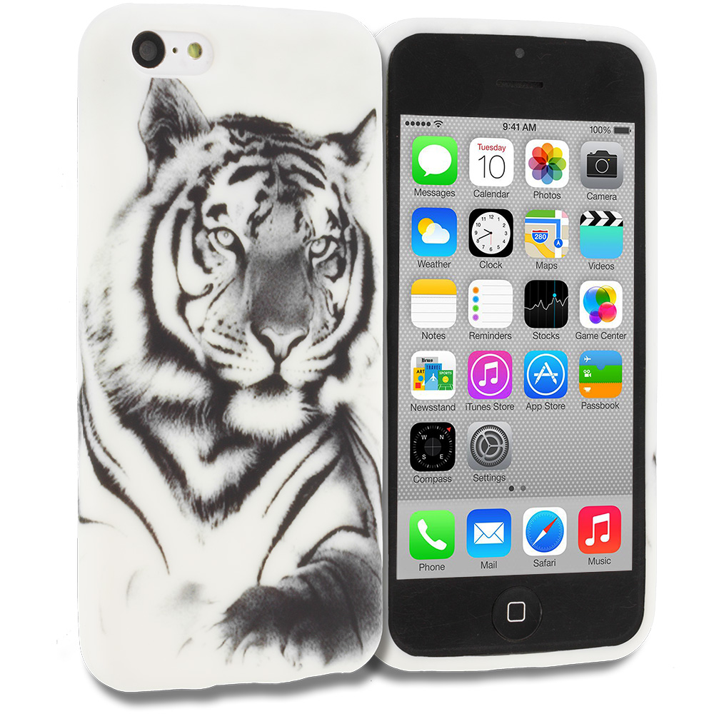 Apple iPhone 5C White Tiger TPU Design Soft Rubber Case Cover