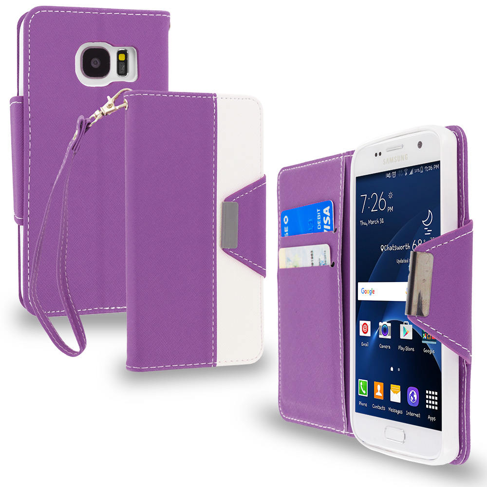 Samsung Galaxy S7 Combo Pack : Baby Blue Wallet Magnetic Metal Flap Case Cover With Card Slots : Color Purple