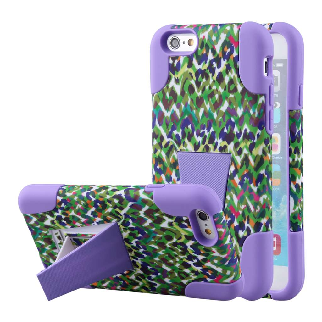 Apple iPhone 6 6S Plus - Purple Rainbow Leopard MPERO IMPACT X - Stand Case