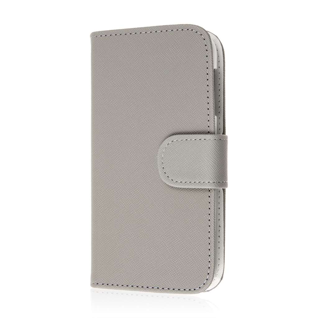 HTC Desire 510 - Gray MPERO FLEX FLIP Wallet Case Cover