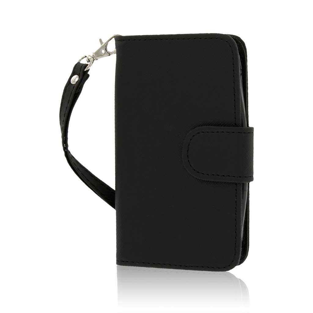 Nokia Lumia 530 - Black MPERO FLEX FLIP Wallet Case Cover