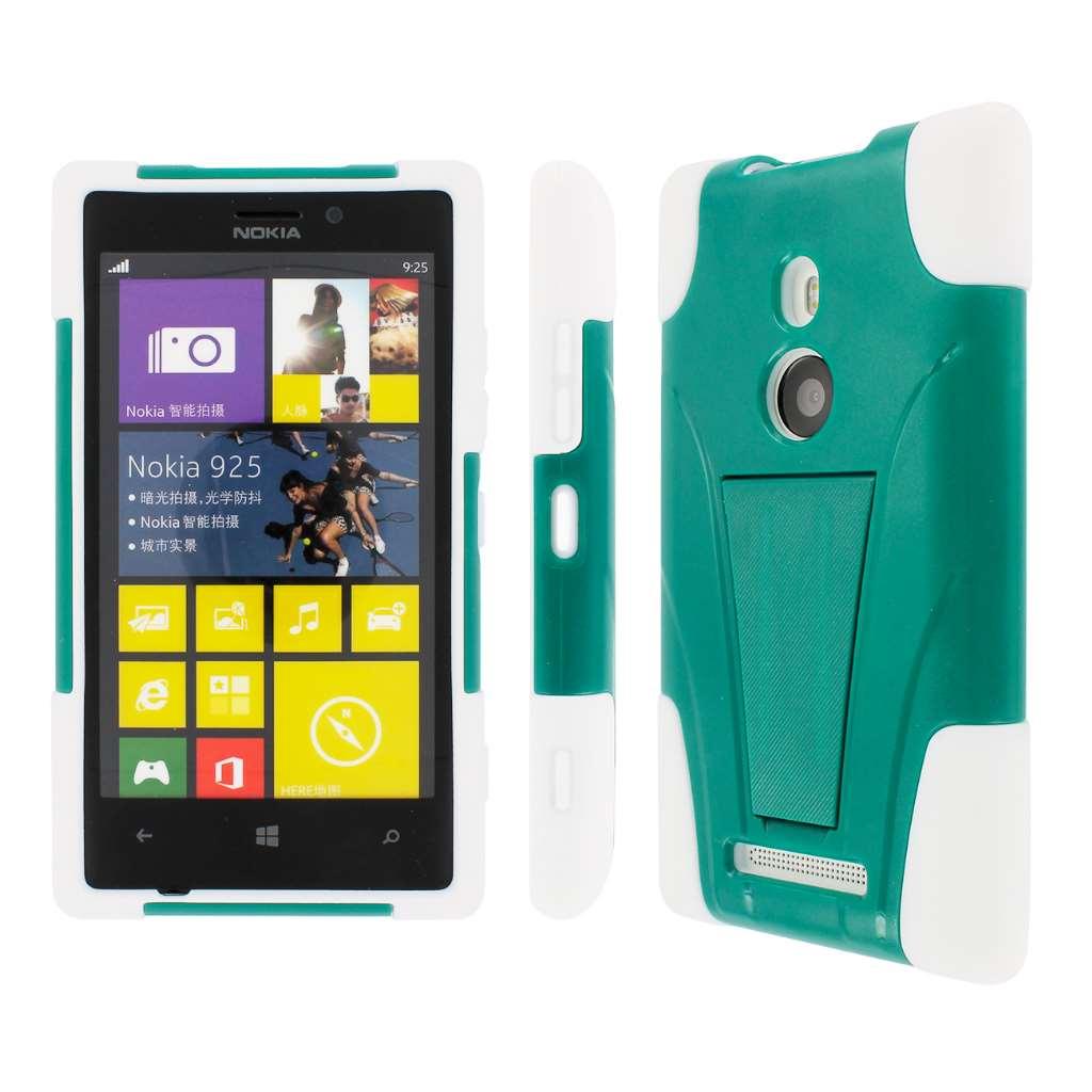 Nokia Lumia 925- WHITE / TEAL MPERO IMPACT X - Kickstand Case Cover