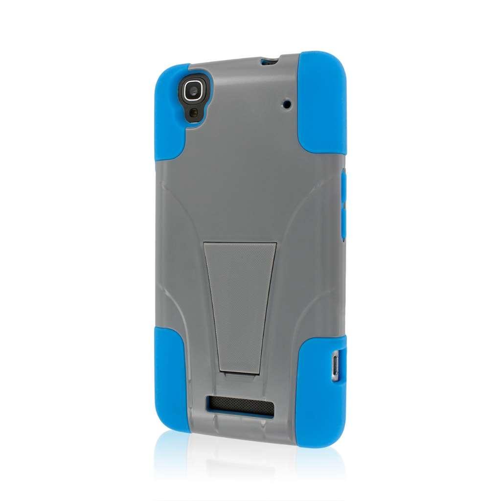 ZTE Max - BLUE/GRAY MPERO IMPACT X - Kickstand Case Cover