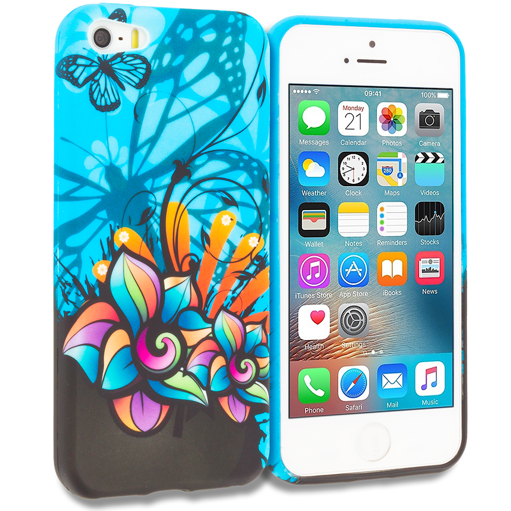 Apple iPhone 5/5S/SE Combo Pack : Butterfly Flower on Blue TPU Design Soft Rubber Case Cover : Color Butterfly Flower on Blue