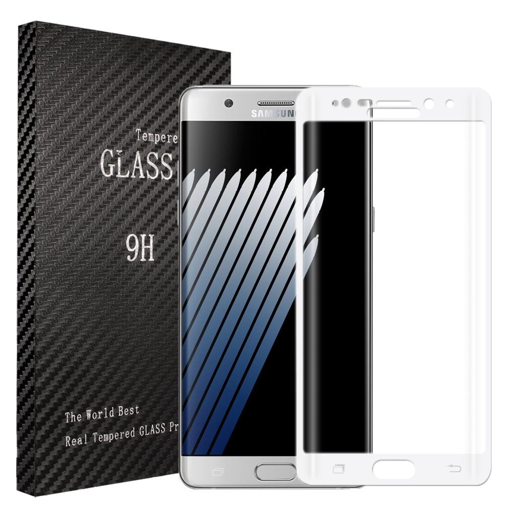 Samsung Galaxy Note 7 White Full Curved Tempered Glass Screen Protector