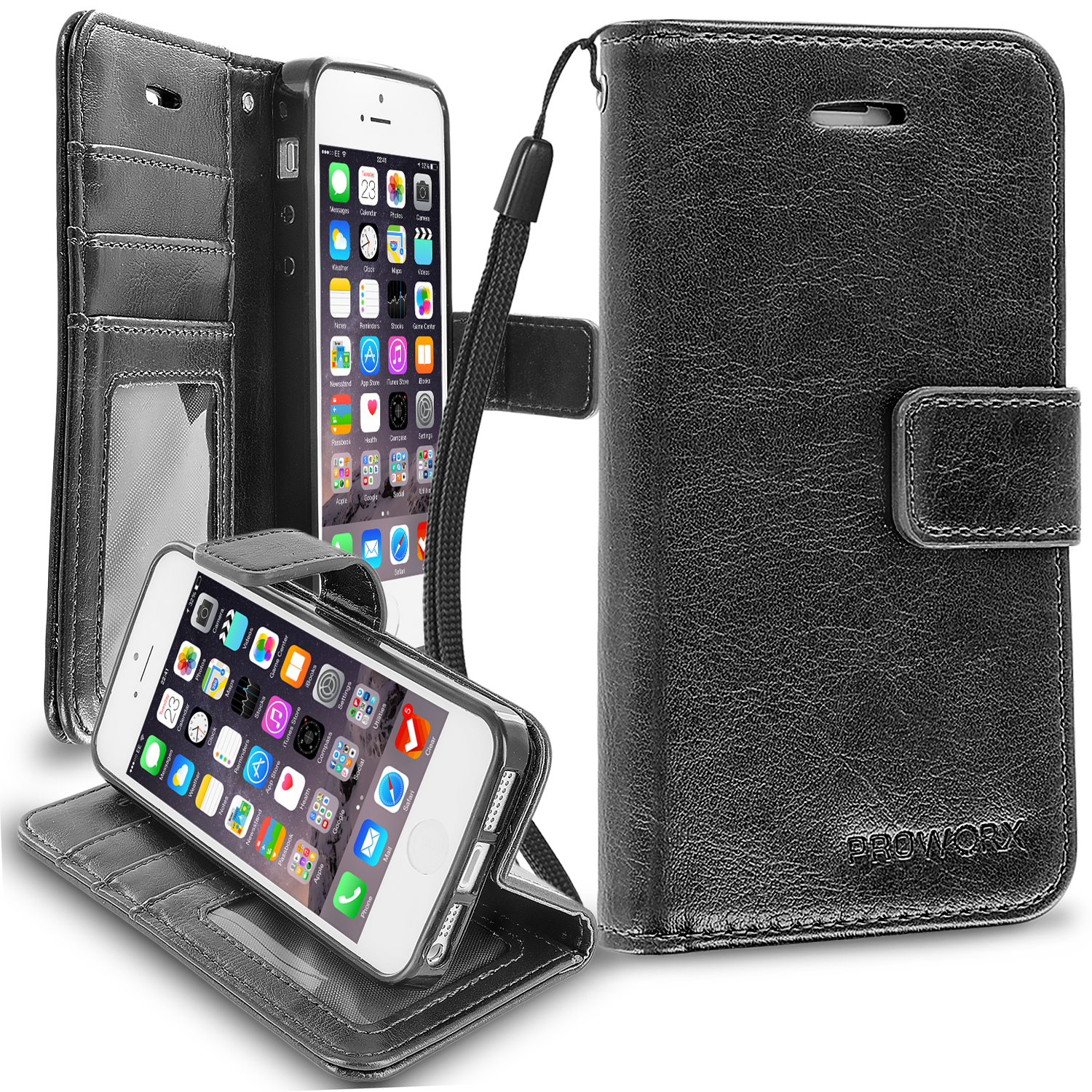 Apple iPhone 5/5S/SE Black ProWorx Wallet Case Luxury PU Leather Case Cover With Card Slots & Stand