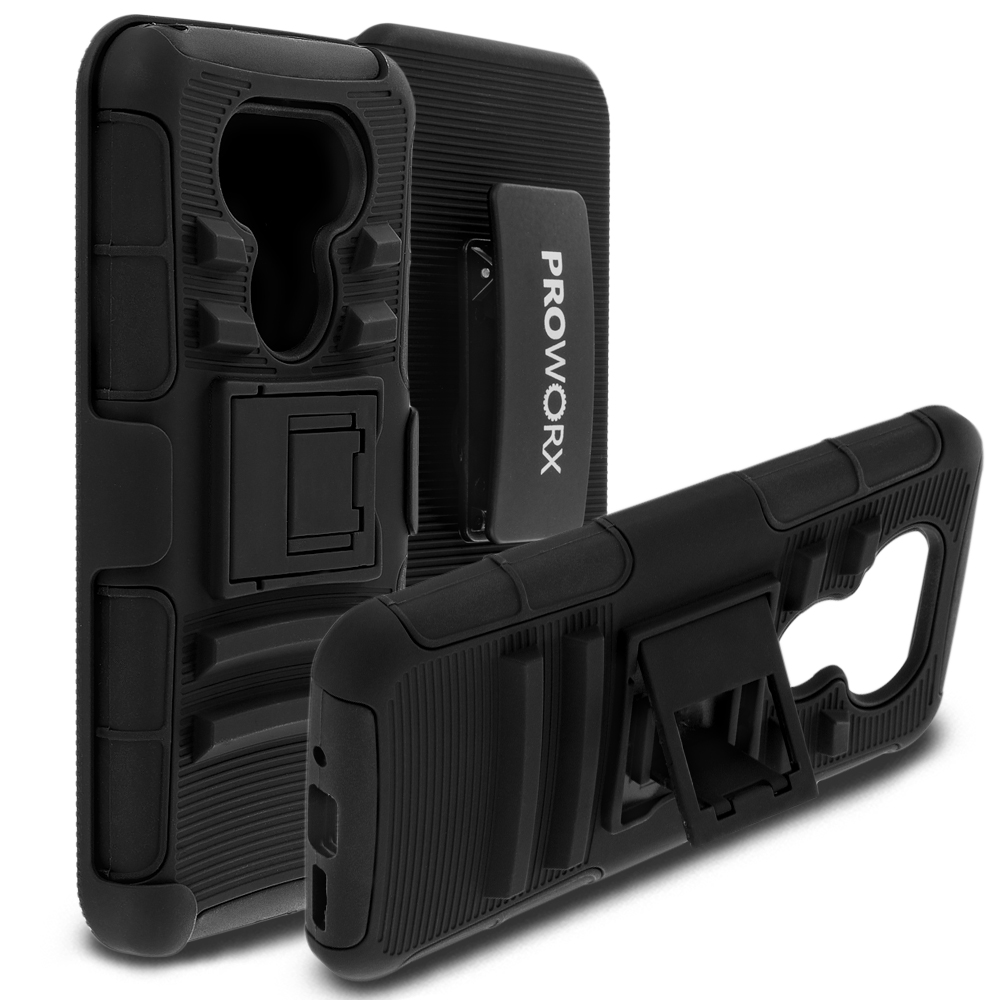 LG G5 ProWorx Black Heavy Duty Shock Absorption Armor Defender Case Cover With Belt Clip Holster