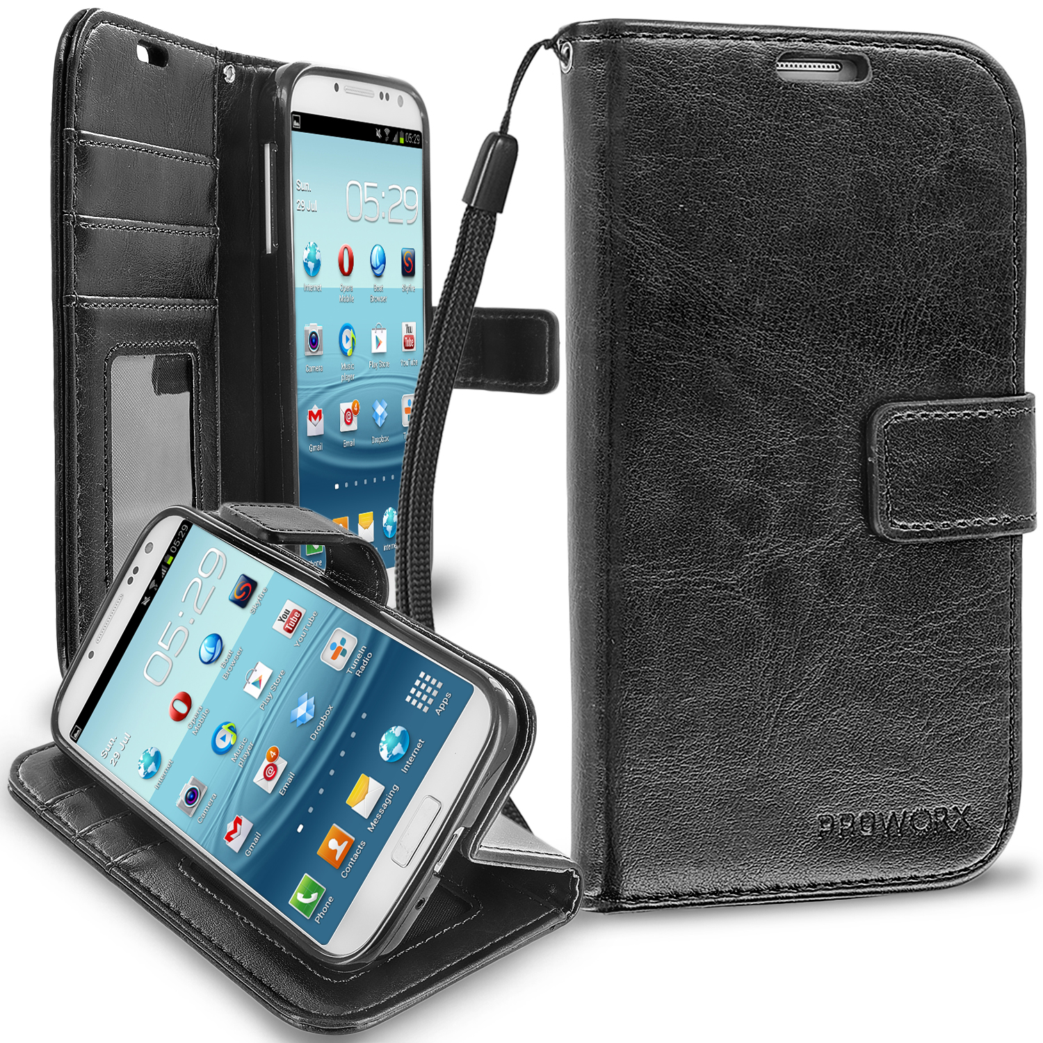 Samsung Galaxy S4 Black ProWorx Wallet Case Luxury PU Leather Case Cover With Card Slots & Stand