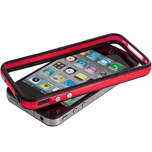 Apple iPhone 4 Black / Red TPU Bumper with Metal Buttons