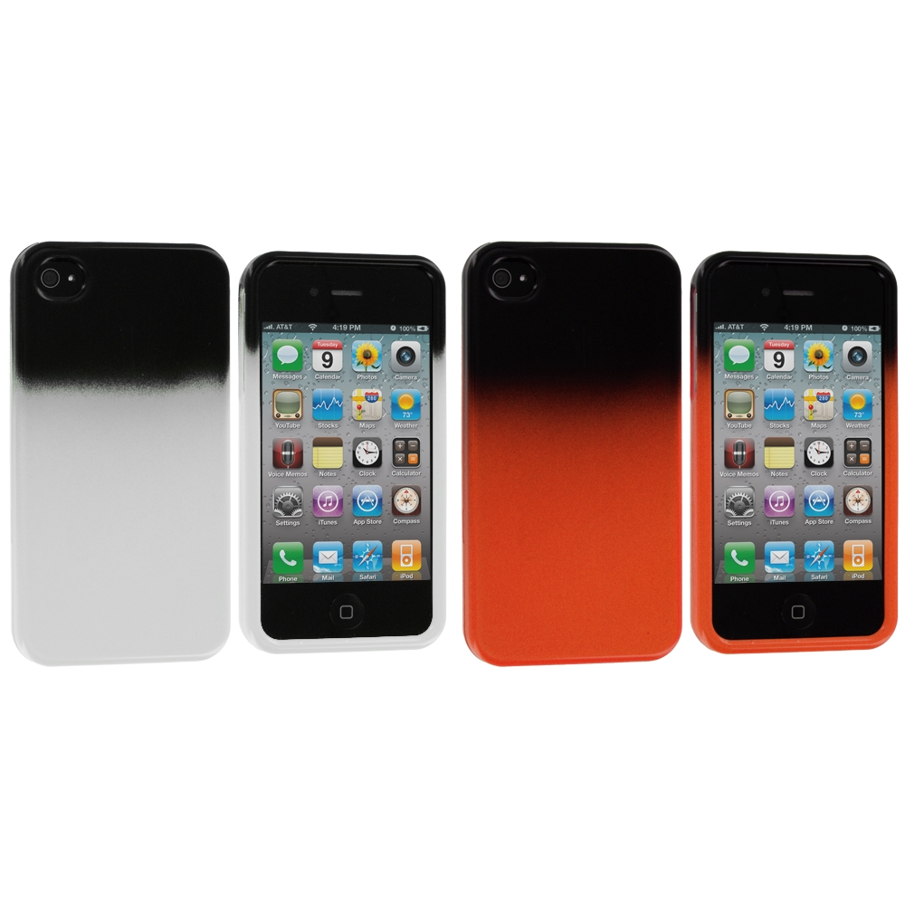 Apple iPhone 4 / 4S 2 in 1 Combo Bundle Pack - Orange / White Two-Tone Hard Case Cover