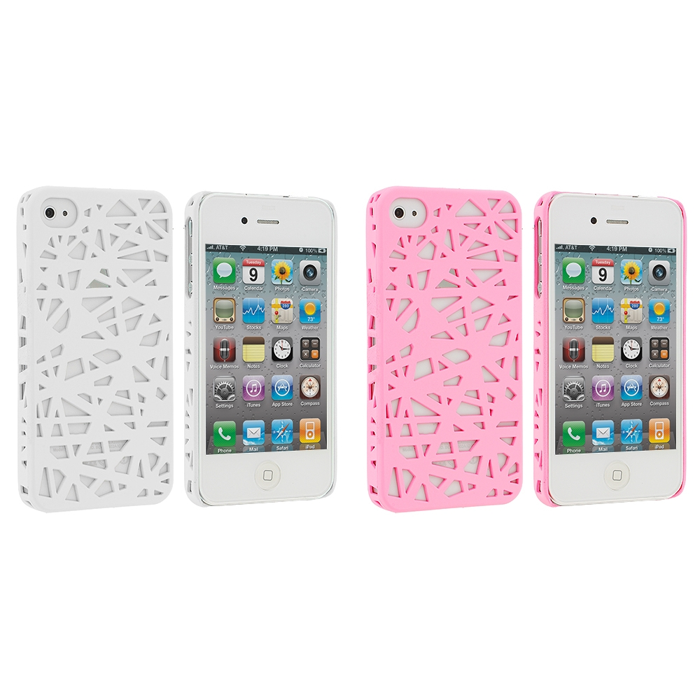 Apple iPhone 4 / 4S 2 in 1 Combo Bundle Pack - White Pink Birds Nest Hard Rubberized Back Cover Case