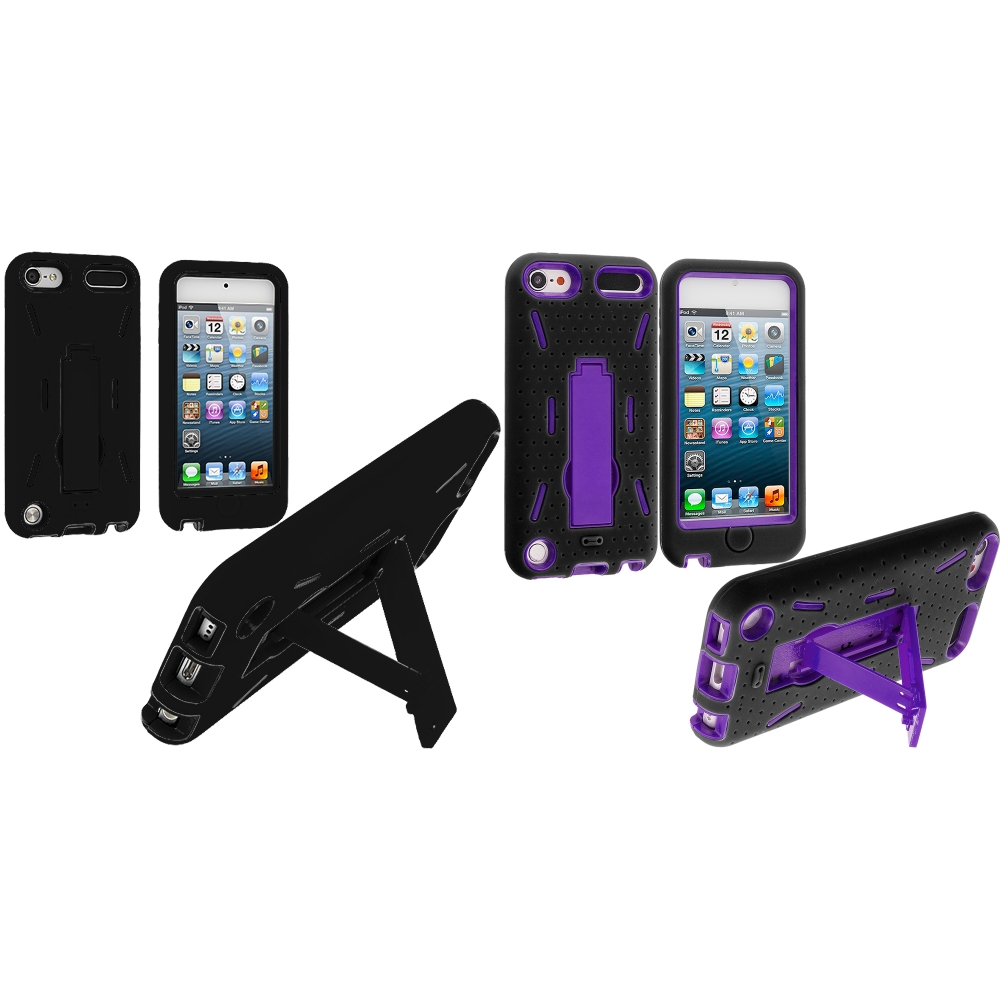 Apple iPod Touch 5th 6th Generation 2 in 1 Combo Bundle Pack - Black / Purple Hybrid Heavy Duty Hard/Soft Case Cover with Stand