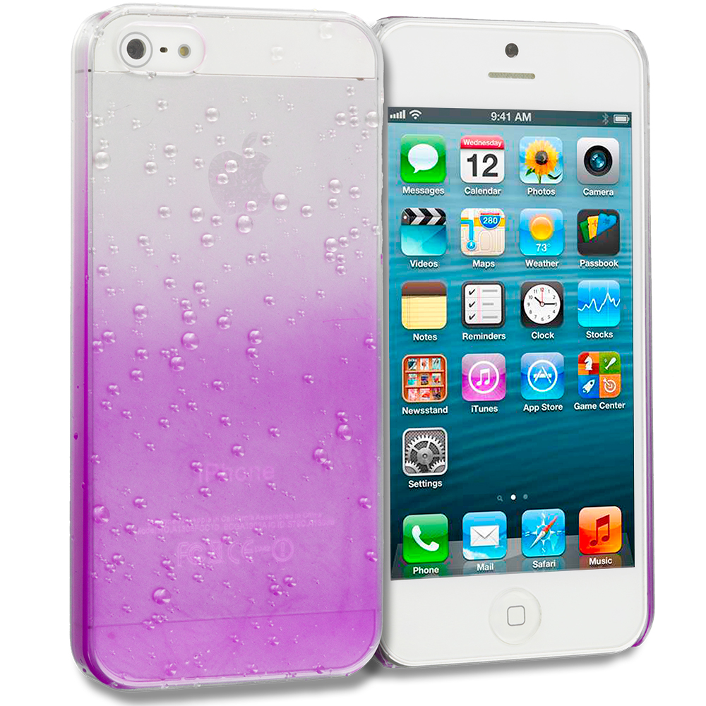 Apple iPhone 5/5S/SE Purple Crystal Raindrop Hard Case Cover