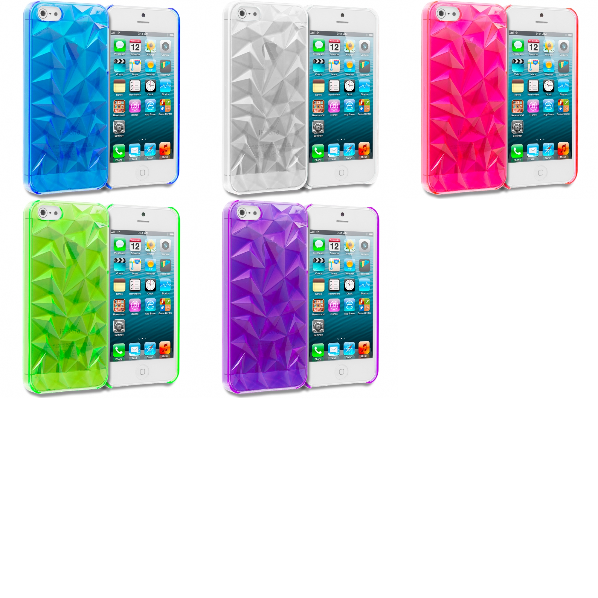 Apple iPhone 5/5S/SE 5 in 1 Combo Bundle Pack - Diamond Crystal Hard Back Cover Case