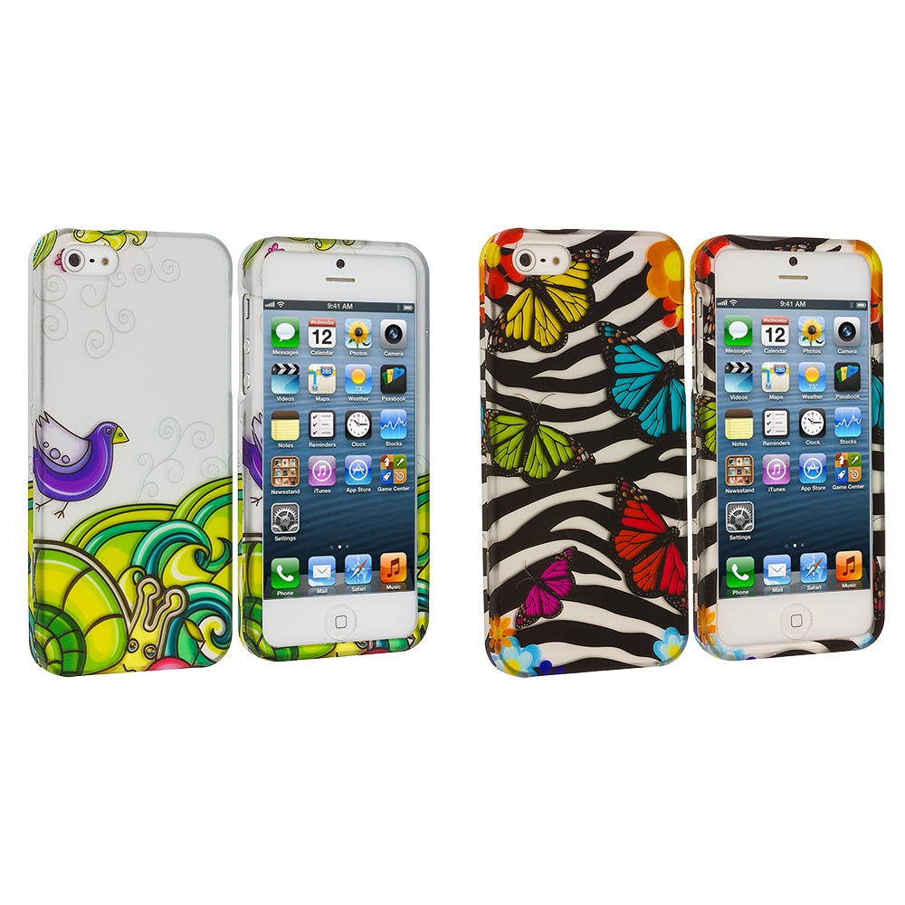 Apple iPhone 5/5S/SE Combo Pack : Birds and Animals Hard Rubberized Design Case Cover