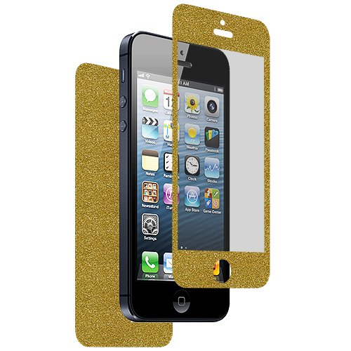 Apple iPhone 5 / 5S Combo Pack : Gray Glitter LCD Screen Protector : Color Gold Glitter