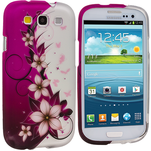 Samsung Galaxy S3 Purple Vine Flower Design Crystal Hard Case Cover