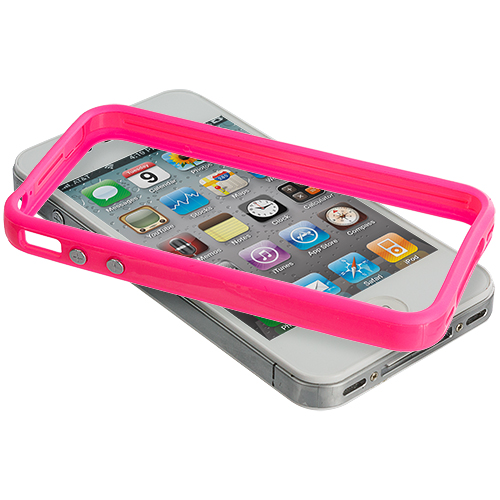 Apple iPhone 4 / 4S 2 in 1 Combo Bundle Pack - Solid White Pink TPU Bumper with Metal Buttons : Color Solid Hot Pink